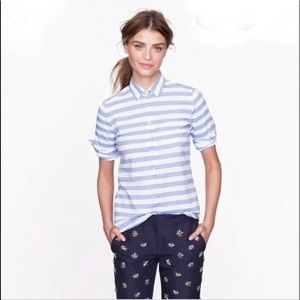J.Crew Women's Camp Popover Shirt Blue & White